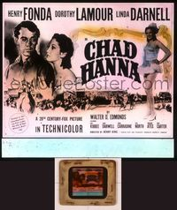 6h073 CHAD HANNA glass slide '40 Henry Fonda with beautiful Dorothy Lamour & Linda Darnell!