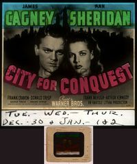 6h075 CITY FOR CONQUEST glass slide '40 close up of boxer James Cagney & beautiful Ann Sheridan!