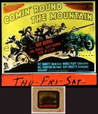 6h076 COMIN' ROUND THE MOUNTAIN  glass slide '40 art of radio stars as hillbillies in jalopy by Webb