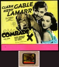 6h077 COMRADE X glass slide '40 close up of Hedy Lamarr embracing Clark Gable, funny love comedy!