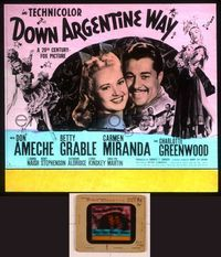 6h081 DOWN ARGENTINE WAY glass slide '40 Don Ameche, Betty Grable, sexy Carmen Miranda!