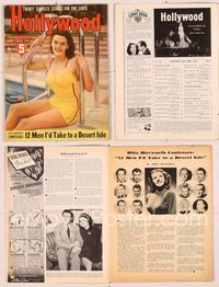 6h043 HOLLYWOOD  magazine June 1941, portrait of sexy Jane Russell in swimsuit sitting by pool!