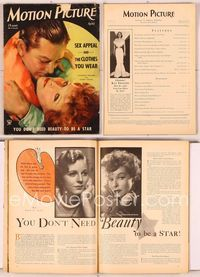6h039 MOTION PICTURE magazine April 1934, art of Robert Young & Katharine Hepburn by Dan Osher!