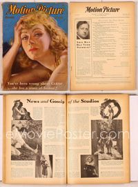 6h028 MOTION PICTURE magazine January 1932, close art portrait of Greta Garbo by Enrique Dorda!