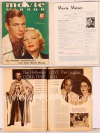 6h032 MOVIE MIRROR magazine September 1936, great portrait of Gary Cooper & Madeleine Carroll!