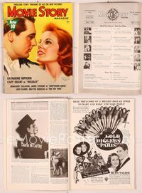 6h041 MOVIE STORY  magazine July 1938, art of Katharine Hepburn & Cary Grant by Zoe Mozert!