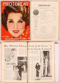 6h019 PHOTOPLAY magazine April 1933, artwork portrait of pretty Norma Shearer by Earl Christy!