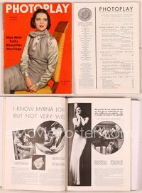6h023 PHOTOPLAY magazine August 1935, seated artwork portrait of Kay Francis by Tchetchet!
