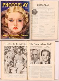 6h017 PHOTOPLAY magazine February 1933, artwork portrait of Joan Bennett in fur by Earl Christy!