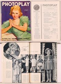 6h022 PHOTOPLAY magazine July 1935, wonderful artwork portrait of Joan Bennett by Tchetchet!