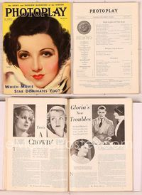 6h018 PHOTOPLAY magazine March 1933, artwork portrait of Claudette Colbert by Earl Christy!
