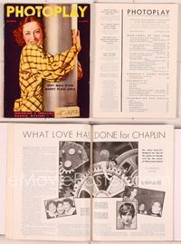 6h025 PHOTOPLAY magazine October 1935, great smiling portrait of Joan Crawford by Tchetchet!