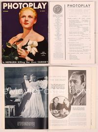6h024 PHOTOPLAY magazine September 1935, elegant artwork portrait of Ann Harding by Tchetchet!
