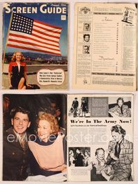 6h047 SCREEN GUIDE magazine August 1942, patriotic Bette Grable with huge flag by Jack Albin!