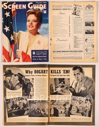 6h059 SCREEN GUIDE magazine August 1943, patriotic portrait of Alexis Smith with flag by Bert Six!