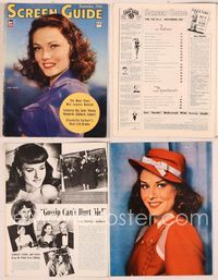 6h051 SCREEN GUIDE magazine December 1942, great close portrait of sexy Gene Tierney by Jack Albin!