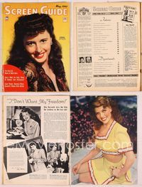 6h056 SCREEN GUIDE magazine May 1943, smiling portrait of Barbara Stanwyck by Hal McAlpin!