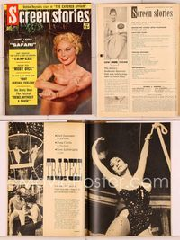 6h036 SCREEN STORIES magazine July 1956, close portrait of naked Janet Leigh bathing from Safari!