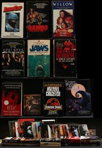 6h009 BOX OF PAPERBACK MOVIE ADAPTATIONS lot of 30 books '70s-90s Jaws, Rambo, Lost Boys, Exorcist!