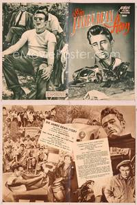 6z136 JAMES DEAN STORY German program '57 many different images, including over smashed race car!