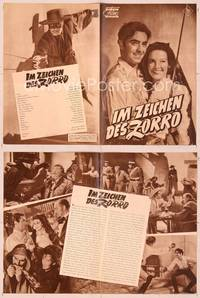 6z141 MARK OF ZORRO German program '49 different images of masked Tyrone Power & Linda Darnell!