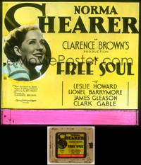 6z025 FREE SOUL glass slide '31 Norma Shearer is the daughter of a lawyer who runs off w/mobster!