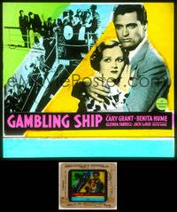 6z026 GAMBLING SHIP glass slide '33 great close up of super young Cary Grant holding Benita Hume!