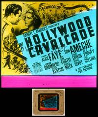 6z029 HOLLYWOOD CAVALCADE glass slide '39 Alice Faye & Don Ameche in history of early Hollywood!