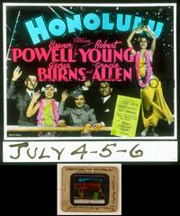 6z031 HONOLULU glass slide '39 Eleanor Powell, Robert Young, George Burns & Gracie Allen!