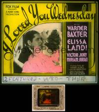 6z032 I LOVED YOU WEDNESDAY glass slide '33 great close up of Warner Baxter & Elissa Landi!
