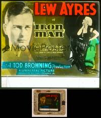 6z034 IRON MAN glass slide '31 directed by Tod Browning, Lew Ayres & sexy Jean Harlow!