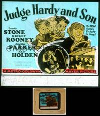 6z038 JUDGE HARDY & SON glass slide '39 art of Mickey Rooney as Andy Hardy w/sexy girls in car!