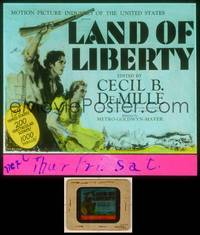 6z040 LAND OF LIBERTY glass slide '39 Cecil B. DeMille's epic of U.S. history w/139 famed stars!