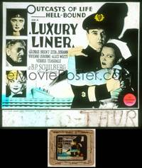 6z043 LUXURY LINER glass slide '33 George Brent is the doctor on a Love Boat-like cruise ship!