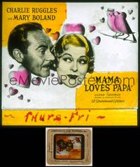 6z045 MAMA LOVES PAPA style B glass slide '33 middle-aged lovebirds Mary Boland & Charlie Ruggles!