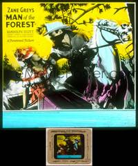 6z046 MAN OF THE FOREST glass slide '33 Zane Grey, great image of masked Randolph Scott on horse!