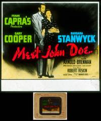 6z047 MEET JOHN DOE glass slide '41 Gary Cooper & Barbara Stanwyck, directed by Frank Capra!