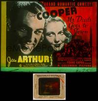 6z048 MR. DEEDS GOES TO TOWN glass slide '36 best c/u of Gary Cooper & Jean Arthur, Frank Capra