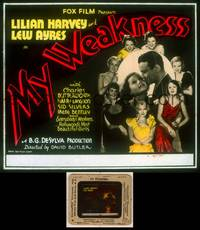 6z049 MY WEAKNESS glass slide '33 Lew Ayres & Lillian Harvey surrounded by seven sexy girls!