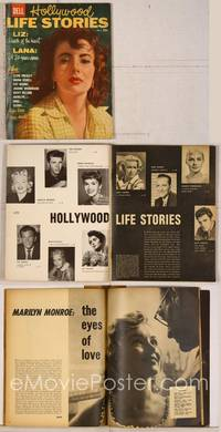 6z086 HOLLYWOOD LIFE STORIES magazine Vol. 1 #8 1958, art of Elizabeth Taylor + Marilyn & Elvis!