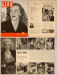 6z108 LIFE MAGAZINE magazine January 23, 1939, Bette Davis close up showing her eyes!