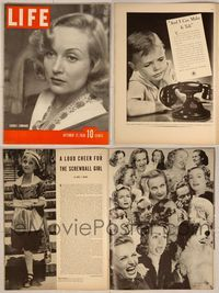 6z107 LIFE MAGAZINE magazine October 17, 1938, pretty Carole Lombard, the 'screwball' girl!