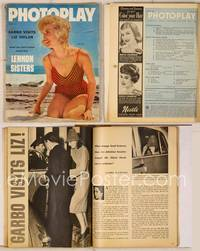 6z075 PHOTOPLAY magazine August 1958, close up of Janet Leigh on beach in bathing suit!