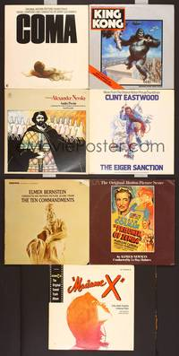 6z008 7 VINYL MOVIE SOUNDTRACK ALBUMS #1 King Kong, Eiger Sanction, Madame X, Prisoner of Zenda