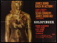 7h067 GOLDFINGER British quad '64 most incredible image of Connery as James Bond in golden girl!