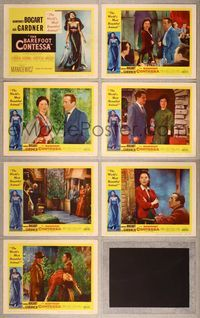 7m059 BAREFOOT CONTESSA 7 LCs '54 great images of Humphrey Bogart & sexy Ava Gardner!