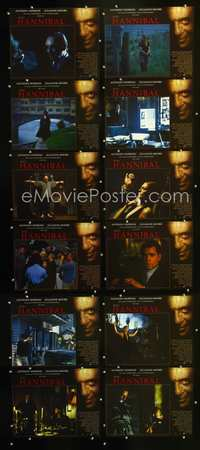 7m009 HANNIBAL 12 int'l LCs '00 creepy images of Anthony Hopkins as Dr. Lector!