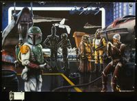 7x069 ARRIVAL OF THE BOUNTY HUNTERS card signed special poster '98 by artist James Cukr, Boba Fett!