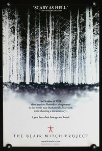 7x087 BLAIR WITCH PROJECT white style teaser special 13x20 '99 Myrick & Sanchez horror cult classic