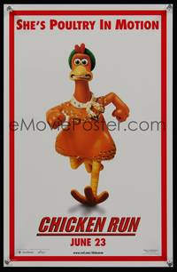7x109 CHICKEN RUN teaser special poster '00 Lord & Park claymation, poultry in motion!